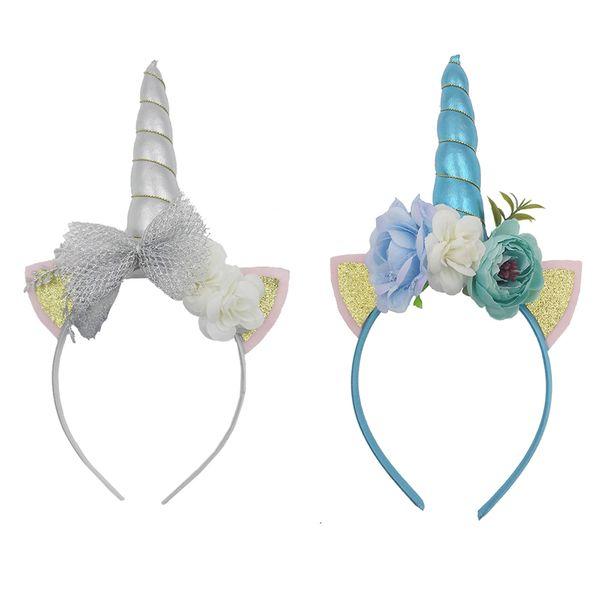 Silver Blue Unicorn Horn Headband Sequin Cat Ears Hair Band Flower Crown Headband Mesh Bowknot for Kids Unicorn Birthday Party Decoration
