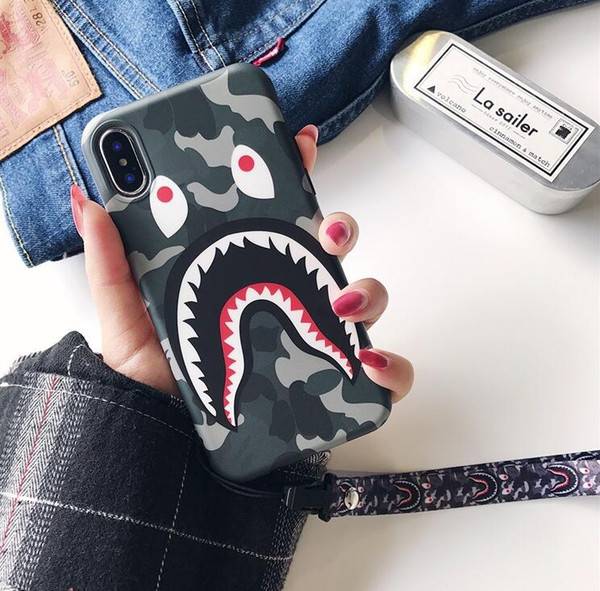 Tide brand camouflage shark mouth for iphone XS MAX mobile phone shell iPhone8 matte couple 6s/7 creative lanyard TPU smart watch