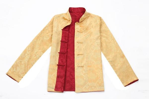 Shanghai Hikayesi Tang takım Çince Geleneksel giyim Için Iki taraflı giymek mandarin yaka çin ceket düğün Gömlek Adam