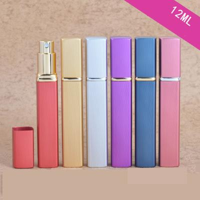 Set of 6 Colors12ML Portable Refillable Aluminum Perfume Bottle with Atomizer Empty Parfum Cosmetic Glass Container
