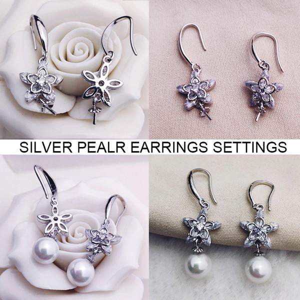 Shiny Zircon Flower Pearl Earrings Settings Silver Stud Earring Settings Long Tassel Earrings Suitable 5-10 mm DIY Jewelry Wedding Gift