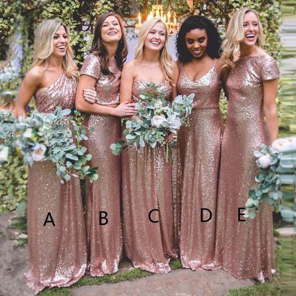 Oferta 2019 Lentejuelas de oro rosa Vestidos de dama de honor Dos piezas de un hombro Mangas cortas Vestido de invitado de boda campestre Vestido de dama de honor BM0233