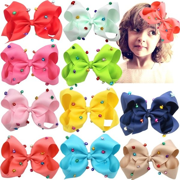 "XMAS GIFT ! 6"" Girls Hand-made Grosgrain Ribbon BOWS Jingle Bells Hair Bow Alligator Clips Hair Accessories for Little Girls 10pcs/"
