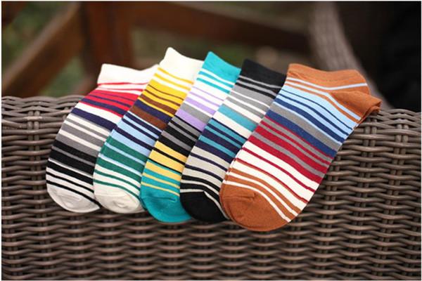 2018 nouvelles chaussettes de bateau pour hommes coréens à rayures invisibles chaussettes sauvages en coton d'été invisible