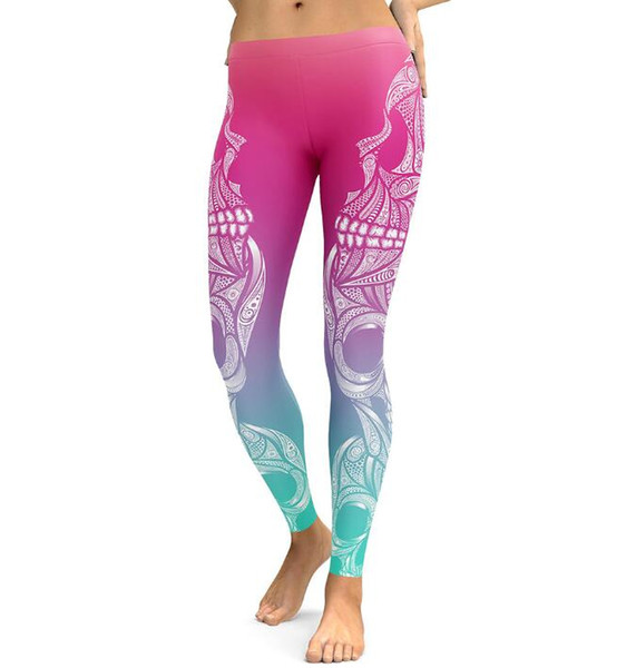 2018 Fashion Frauen Skull Print Leggings Fitness Frauen Freizeithosen engen Sport Yoga Leggings Bleistift Hosen