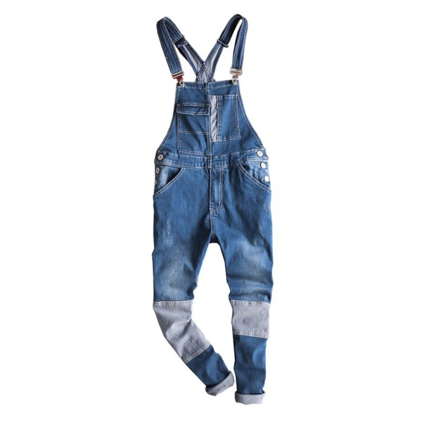 Fashion Style Men's Jeans Jumpsuit With Multi-pockets Blue Slim Fit Casual Streetwear Jumpsuit For Male Suspender Size S-3XL