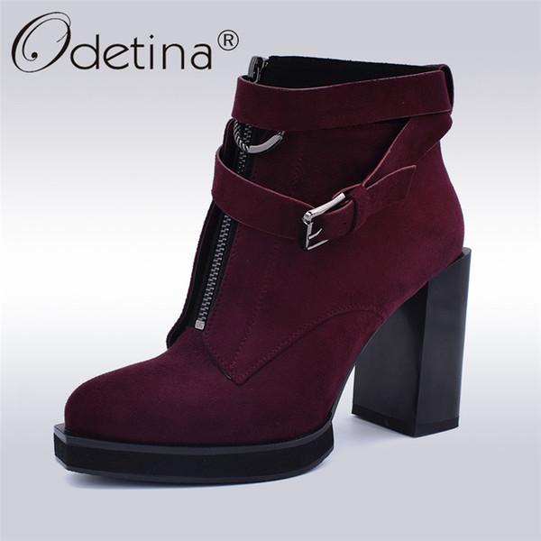 New Frauen Odetina Vorne Winter Schuhe Reißverschluss Platz Leder Plattform Heels Schnalle Fashion Flock Großhandel Von Stiefeletten Stiefel High Lady cRAj5q4L3
