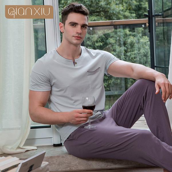2018 Autumn Plus size Pyjamas Men Casual Pajama sets Male Cotton Sleepwear suit Men Short sleeve O-neck Collar t shirt & Pants