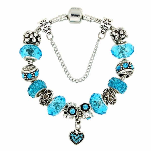 2018New fashion custom design crystal & glass bead heart pendant Charms Bracelet & Bangle with safety clasp for women gift KM158