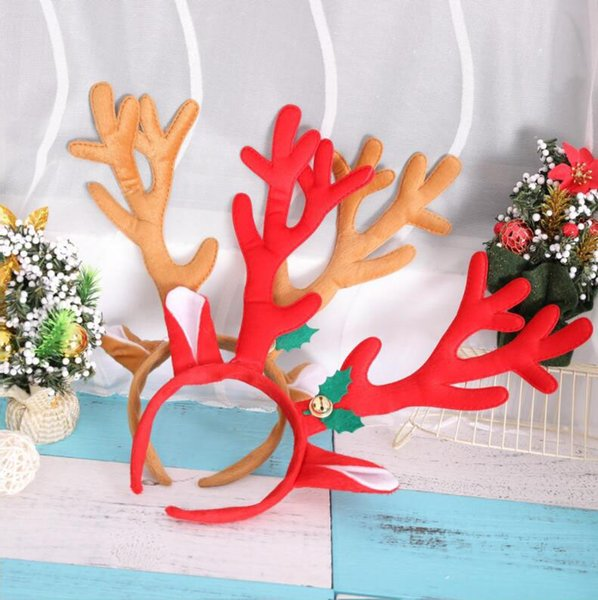 Red Brown Christmas Big Antlers Headband Adult Children Party Personality Bell Headband Tool Christmas Decoration Props Free Size