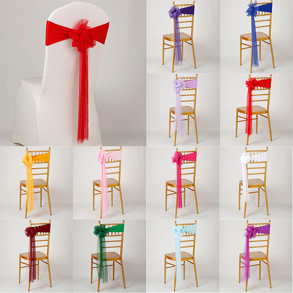 long organza stretch chair cover sashes 12 colors wedding chair sashes wedding banquet festival party decoration