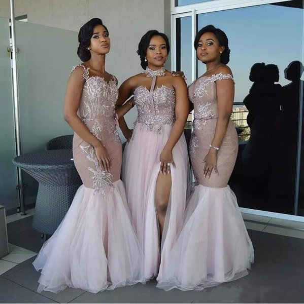 New Blush Mermaid Bridesmaid Dresses 2018 Lace Appliques Halter OffShoulder Split Sweep Train Wedding Guest Gowns Cheap Customized Plus Size