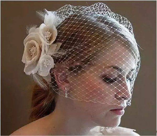 Wedding Birdcage Veils with Champagne White Flowers Feather Wedding Birdcage Veil Bridal hat Hair Pieces Bridal Accessories