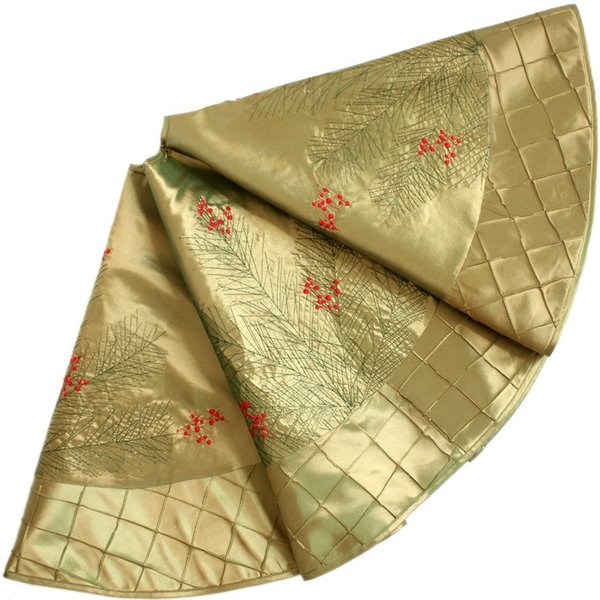 """EXTRA LARGE 50"""" faux silk berry embroidered deluxe diamond pintuck border Christmas tree skirt gold P2739"""