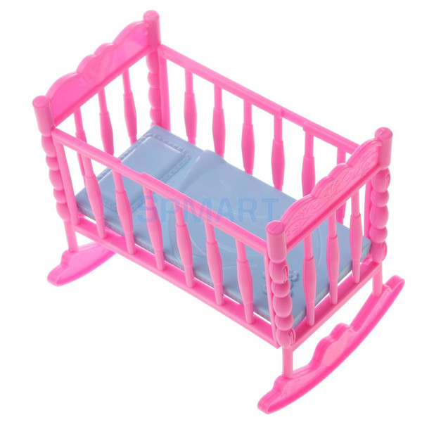 Dolls Cradle Bed Bedroom Furniture Nursery Room Acces for Dolls House Miniature Decor Pink