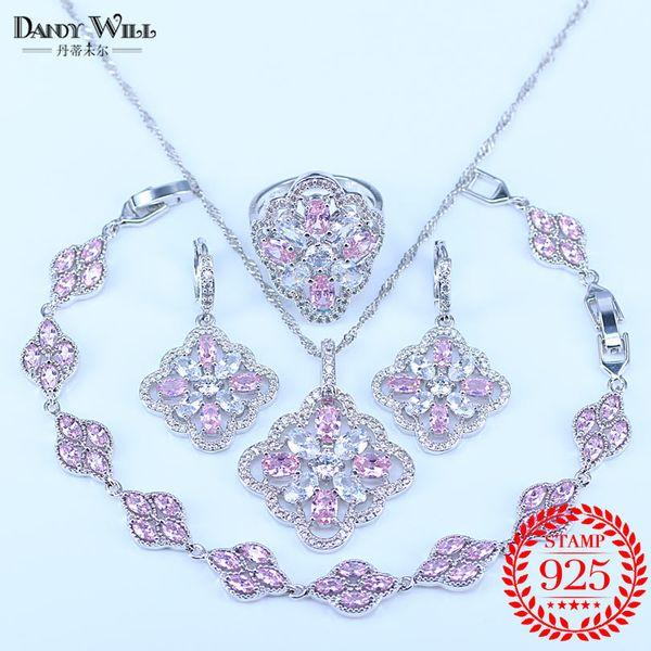 Bijoux en argent sterling 925 gros ensembles de bijoux en cristal australien rose pour les femmes Bracelet / collier / pendentif / boucles d'oreilles / bague