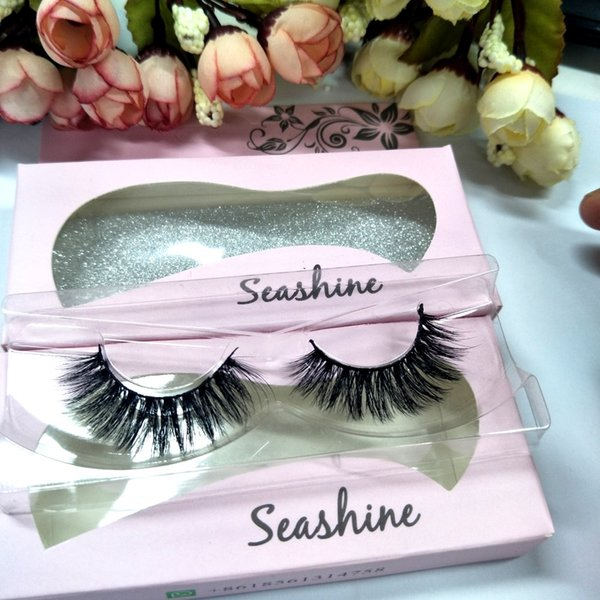 SeashineHot sale cheap price real mink material mink hair eyelash strips 3D mink lashes false eyelashes free shipping