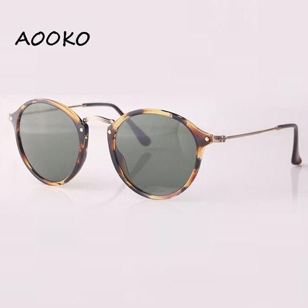 AOOKOJeff designer Steampunk Mens Sunglasses 2447 Mirrored Sun glasses Round Circle Sunglass Retro Vintage Gafas Masculino Sol lens 49mm