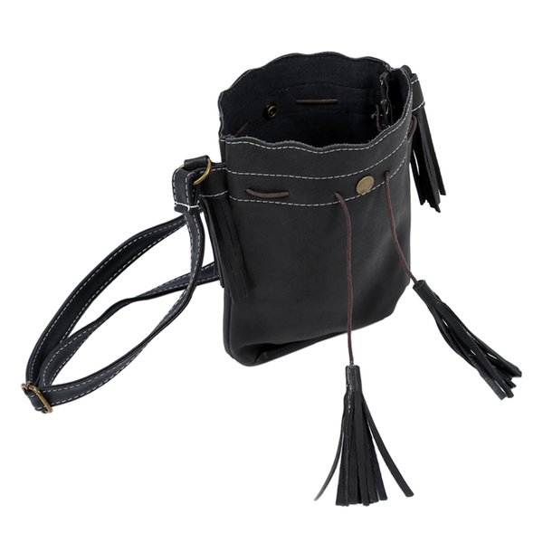 Women bag Tassel fashion bucket bag Matte leather patchwork women shoulder messenger handbag black