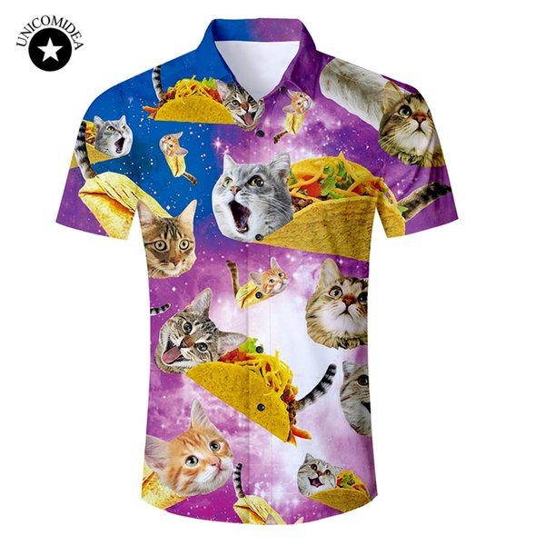 28534568 Eur Size Mens Shirt Funny Galaxy Space Cat Kitten 3d Print Hawaiian Shirt  Male Slim Fit Short Sleeve Shirts 2018 Summer Clothes