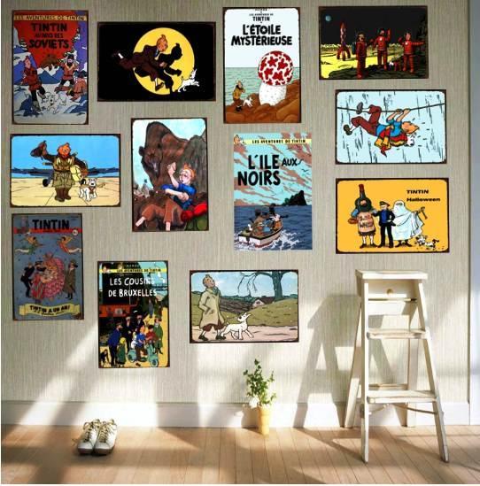 Tintin Cartoon Movie Tin Sign Metal Plate Iron Painting Kids Room Wall Bar Coffee Home Art Craft Decor 30X20CM DU-1043