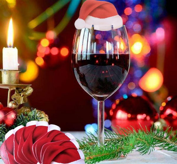 New Wine Glass Markers Charms Label Xmas Festival Party Decoration Christmas Wine Drink Red Hat Santa Claus Set Markers