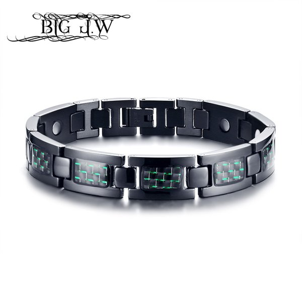 BIG J.W Stylish Casual Black Bracelet Bangle for Men Carbon Fiber Power Magnetic Healthy Bangles Stainless Steel Therapy Jewelry