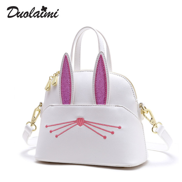 DUOLAIMI Saddle Cartoon Rabbit White Cover OL Office Lady Diamonds Faux Leather PU Women's Handbag Crossbody Shoulder Bags Tote