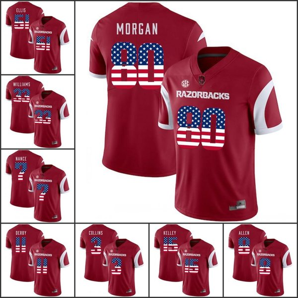 National flag ncaa Arkansas Razorbacks College Football Stewart Patton Hayden Whaley Alworth Hammonds Ragnow Sprinkle Henry Jerseys