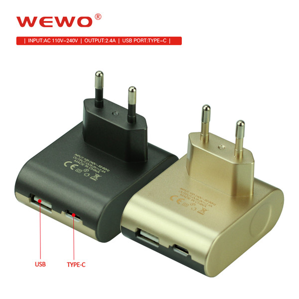 Wewo Type C Port Wall Charger 2.4A Output USB Type-C Fast Charging Travel Adapter for Universal Smart Phones With High-Quality Retail Box