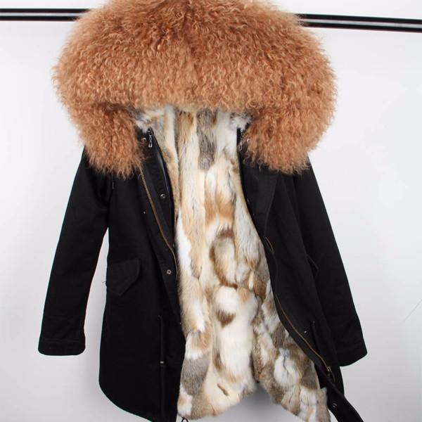 2018 New Winter Jacket Women Coat Mongolia Sheep Fur Collar Hood Rabbit Fur Liner Detachable 3 in 1
