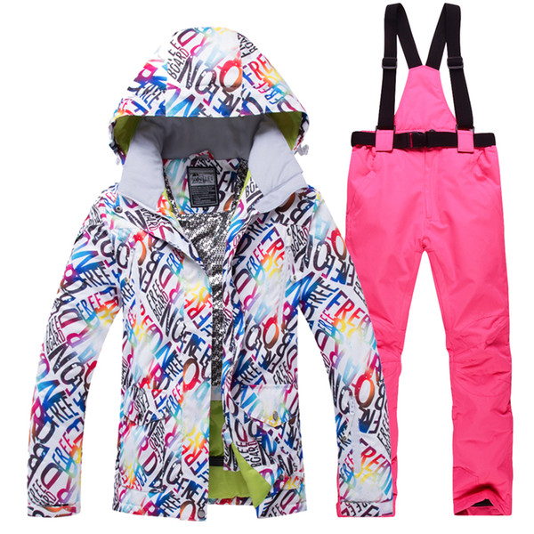 2018 New Hot Women Skiing Jacket Pants Snow Snowboard Clothes Warm Waterproof Windproof Winter Fmale Ski Suits High Quality Set