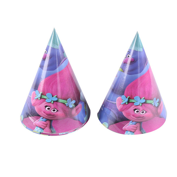 6pcs 20cm Cartoon Trolls Cap Cartoon Hap Theme Party Kids Girl Boy Birthday Party Event Baby Shower Supplies Decoration