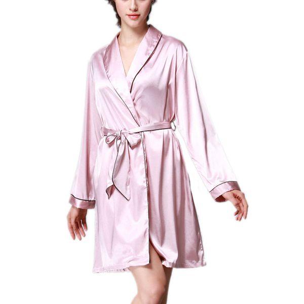 c4b3658bf8b3 SCECENT Sexy Women Robe Long-sleeve Home Solid Female Sleepwear Bathrobes  Luxury Silk Satin Short