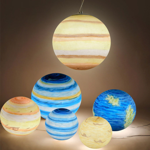 Universo creativo nórdico Planeta Colgante de acrílico Luz Luna Sol Tierra Marte Urano Mercurio Júpiter Saturno Planeta Lámparas