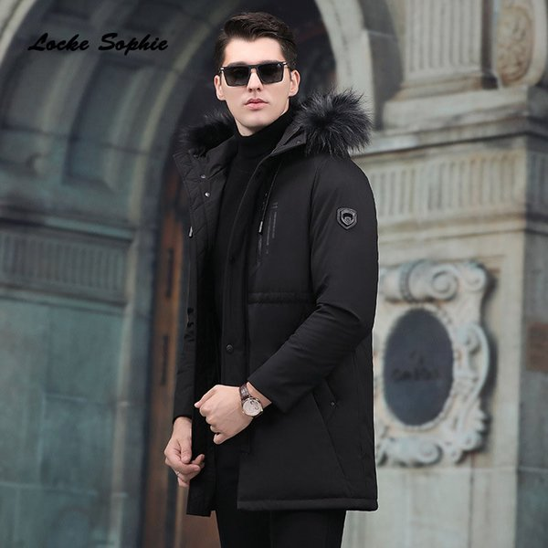 1pcs Mens plus size Down jacket coats 2018 Winter Fashion Duck down Raccoon fur collar jackets men Skinny Keep warm jackets