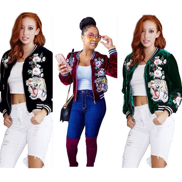 women designer coats velour tiger flower embroidery short baseball jackets fashion coats