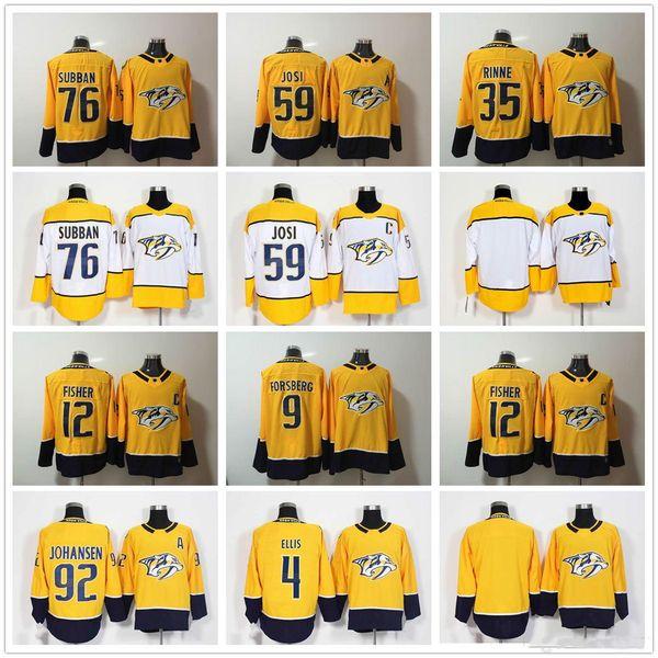 2018 Juventude Nashville Predadores Filip Forsberg 12 Fisher 35 Pekka Rinne 59 Roman Josi 76 PK Subban 92 Johansen Amarelo Branco Camisas De Hóquei