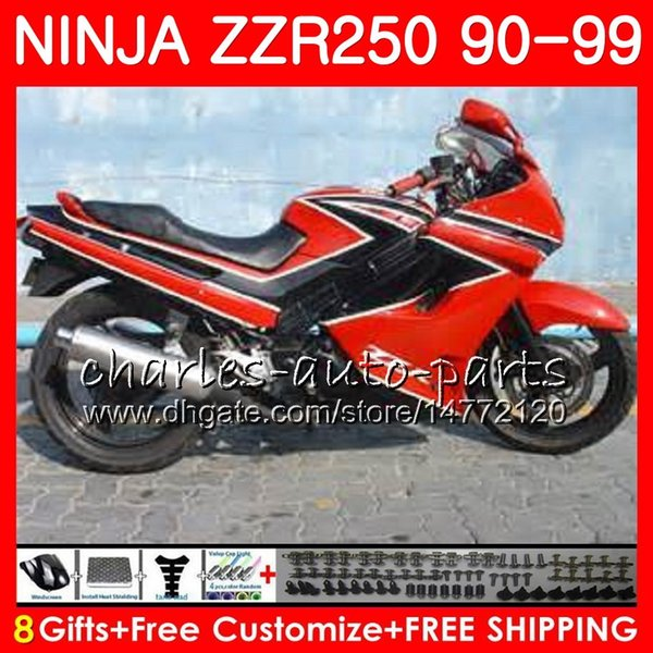 Bodywork For KAWASAKI NINJA ZZR-250 ZZR250 90 91 92 93 94 99 117HM.31 ZZR 250 New red 1990 1991 1992 1993 1994 1999 Fairing kit Red black