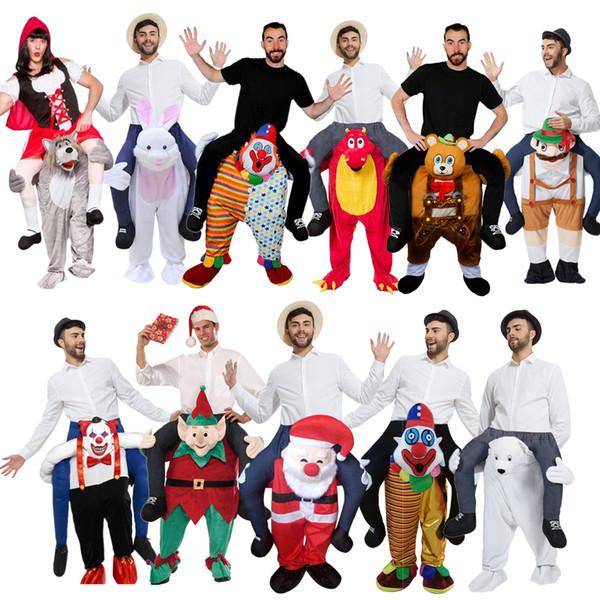 Festa traje do ombro montar em mim trajes de palhaço de Papai Noel para festa de aniversário mascote urso de pelúcia natal atividade de Halloween tamanho adulto
