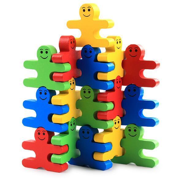 16pcs Creative Wooden Cartoon Balance Villain Building Blocks Children Wood Building Blocks Kindergarten Early Education Toys