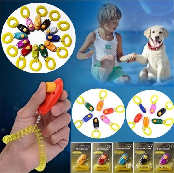 New Pet Trainer Pet Dog Training Dog Clicker Adjustable Sound Key Chain and Wrist Strap Doggy Train Click Pet Training Tool I297