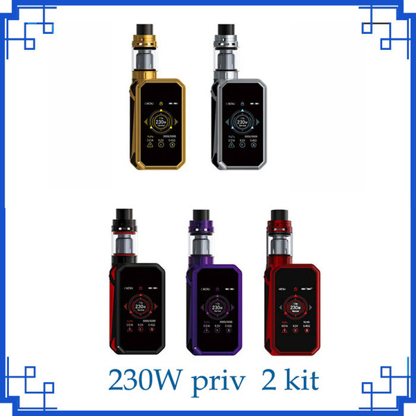 Priv 2 Starterkits PRIV 2 Touchscreen 230W TC Box Mod Top Luftströmungssystem mit 4ml TFV8 X-Baby Tank Zerstäuber Vape Patronen