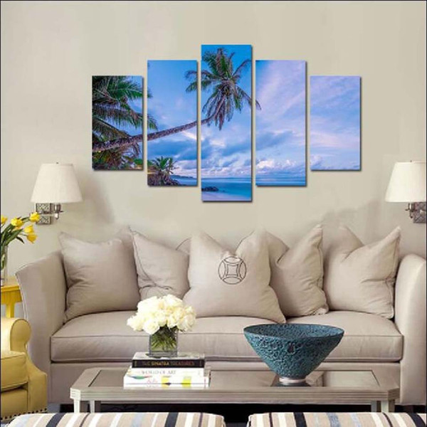Modular HD Prints Painting Wall Art Framework 5 Pieces Coconut Trees White Cloud Sea view Posters Home Decoracion Canvas Pictures