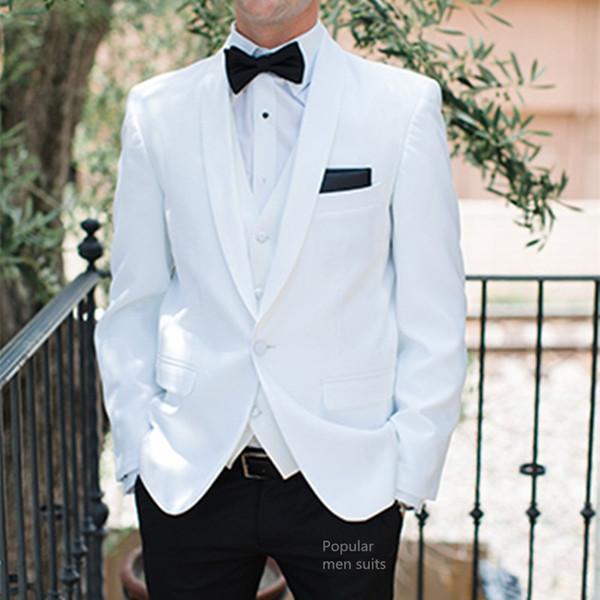 Custom Made White Shawl Lapel Suits Mens Formal Skinny Summer Beach Simple Wedding Tuxedo 3 Pieces Men Suit (Jacket+Pants+Vest)