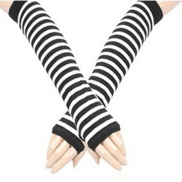 Newly Design Women Winter Long Elbow Striped Gloves Hand Arm Knitted Fingerless Gloves Mittens HO859443