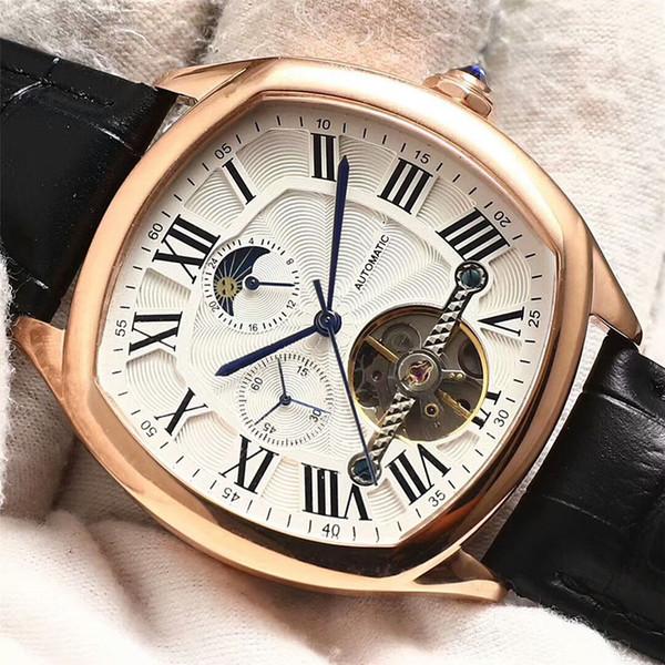 Gute Qualität Platz Uhren Automatische Mechanische Herrenuhren Mode Hohle Tourbillon Armbanduhren Luxus Lederband Herrenuhr