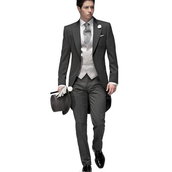 New Tailored Elegant Bridegrom Gray morning suit Wedding tuxedo for men groomwear 5 pieces suits set (Jacket+Pants+Vest)