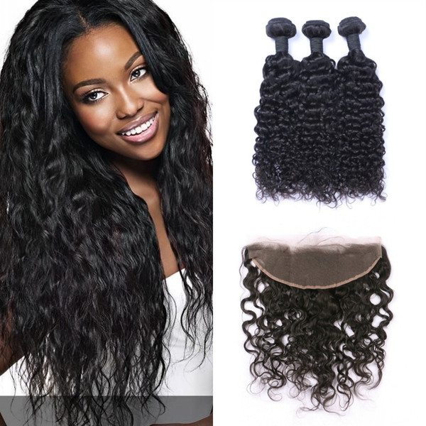Frontal Lace Closure With 3 Bundles Virgin Wet And Wavy Human Hair Weaves 8-30inch Shedding Free
