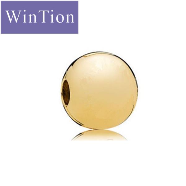 WinTion PAN100% Argent 925 Bracelet Clips anti-dérapants Classique De Luxe Sphère D'or Femelle Saint Valentin Cadeau De Noël
